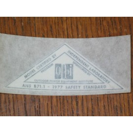 1977 SAFETY STANDARD DECAL SILVER NEW
